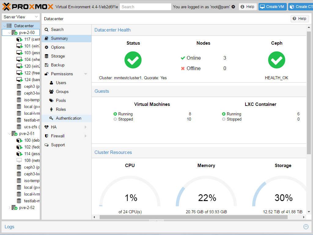 Proxmox Virtualization screenshot startpage